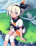 1girl bangs black_gloves black_hairband blue_eyes bodysuit bodysuit_under_clothes bow breasts collared_shirt commentary day gen_1_pokemon gloves grass grey_hair gurepyon gym_leader hair_between_eyes hairband knee_pads looking_at_viewer looking_up machop orange_gloves outdoors pokemon pokemon_(creature) pokemon_(game) pokemon_swsh print_shirt print_shorts saitou_(pokemon) shiny shiny_skin shirt short_hair short_sleeves shorts single_glove sitting smile tied_shirt two-tone_gloves wristband