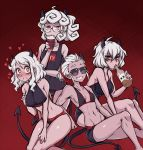 4girls alcohol bikini black_horns black_swimsuit bottle breasts coffee_cup cup curly_hair demon_girl demon_horns demon_tail disposable_cup dojipan glasses heart heart-shaped_pupils helltaker horns justice_(helltaker) large_breasts liquor looking_at_viewer male_swimwear malina_(helltaker) medium_breasts modeus_(helltaker) multiple_girls navel one-piece_swimsuit pandemonica_(helltaker) red_eyes school_swimsuit short_hair small_breasts smile sunglasses swim_trunks swimsuit swimwear symbol-shaped_pupils tail white_hair
