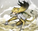 1girl :| adeshi_(adeshi0693119) animal_ears animal_print black_hair blonde_hair cheetah_(kemono_friends) cheetah_ears cheetah_print closed_mouth commentary_request dust elbow_gloves extra_ears floating_hair gloves gradient_hair ground hand_on_ground kemono_friends leopard_ears leopard_print leopard_tail long_hair multicolored_hair one_knee pose print_legwear shirt shoes skirt smoke solo tail thigh-highs tsurime white_footwear white_shirt yellow_eyes