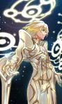 1boy armor blonde_hair blue_eyes cowboy_shot energy_wings gloves gold_armor gold_trim halo highres male_focus misu_kasumi sky solo star_(sky) starry_sky white_armor wings xanthe xenoblade_(series) xenoblade_1