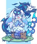 1boy 1girl :d animal_nose black_fur blue_eyes blue_fur blush_stickers bow commentary_request fang grass highres hooves kayo!!_(gotoran) lamb_(league_of_legends) league_of_legends long_hair looking_at_another mask mask_on_head open_mouth rock silver_hair simple_background sitting smile snout sweatdrop tree_stump white_fur wolf_(league_of_legends)