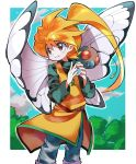 1girl bangs blonde_hair border bug butterfly butterfree character_request check_character feet_out_of_frame gen_1_pokemon highres holding holding_poke_ball hyou_(hyouga617) insect long_hair long_sleeves outline outside_border parted_lips poke_ball pokemon pokemon_(creature) pokemon_special ponytail red_eyes solo white_border white_outline yellow_(pokemon)