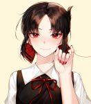 1girl absurdres bangs black_hair blush dress eyebrows_visible_through_hair folded_ponytail hair_ribbon heart heart_of_string highres huge_filesize kaguya-sama_wa_kokurasetai_~tensai-tachi_no_renai_zunousen~ looking_at_viewer mizz_316 parted_bangs pinky_out red_eyes red_ribbon red_string ribbon school_uniform shinomiya_kaguya short_hair sidelocks simple_background smile solo string string_around_finger