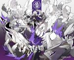 1girl absurdres animal_ears arknights blood bloody_hands chain character_name chinese_commentary commentary_request explosion extra_arms fangs fire floating_hair grey_eyes hair_between_eyes hair_ornament hairclip highres lappland_(arknights) looking_at_viewer penguin_logistics_(arknights) pillar purple_fire purple_theme scar scar_across_eye shinnasuka025 silver_hair sword torn_clothes weapon white_background wolf_ears