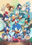 6+boys absurdres adventures_of_sonic_the_hedgehog animal_ears anniversary arms_up bandages blue_fur chromatic_aberration furry glasses gloves green_eyes grin hedgehog hedgehog_ears highres looking_at_viewer multiple_boys multiple_persona open_mouth rabbit_ears red_footwear running signature smile sonic sonic_boom_(game) sonic_mania_adventures sonic_the_hedgehog sonic_the_hedgehog_(classic) sonic_the_hedgehog_(film) sonic_the_hedgehog_(ova) sonic_underground teeth theduckgod white_gloves