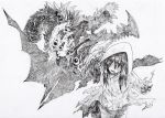 1girl eldritch_abomination extra_eyes eyeball grey_background greyscale hatching_(texture) hood hood_up long_hair monochrome open_mouth original shaded_face shibafu_no_atama simple_background sketch solo teeth torn_clothes upper_teeth