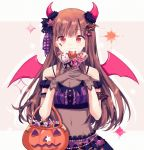 1girl bangs bat_hair_ornament brown_hair candy eyebrows_visible_through_hair fake_horns fake_wings food gloves gocoli hair_ornament highres holding idolmaster idolmaster_shiny_colors long_hair looking_at_viewer midriff navel pink_wings red_eyes see-through sheer_clothes simple_background solo sonoda_chiyoko star_(symbol) star_hair_ornament tareme two-tone_background wings