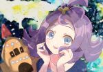 1girl :3 acerola_(pokemon) blue_eyes blush commentary_request dress fantasydolce from_above gen_7_pokemon hair_ornament hands_up looking_at_viewer looking_up medium_hair open_mouth palossand pokemon pokemon_(creature) pokemon_(game) pokemon_sm portrait purple_hair