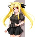 ! 1girl :d bangs black_bow black_shirt black_skirt blonde_hair blush bow collarbone cowboy_shot engo_(aquawatery) eyebrows_visible_through_hair fate_testarossa floating_hair hair_between_eyes hair_bow long_hair looking_at_viewer lyrical_nanoha mahou_shoujo_lyrical_nanoha miniskirt neck_ribbon open_mouth pleated_skirt red_eyes ribbon shiny shiny_hair shirt short_sleeves sketch skirt smile solo standing twintails very_long_hair white_background yellow_ribbon