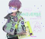 1other ambiguous_gender bag buttons chewing_gum dated earphones green_eyes hands_in_pockets high_collar highres jacket nishihara_isao original purple_hair short_hair shoulder_bag sunglasses transparent undercut zipper