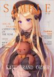 1girl abigail_williams_(fate/grand_order) artist_request bangs black_bow black_dress black_headwear blonde_hair blue_eyes blush bow breasts character_name closed_mouth copyright_name cover dress fate/grand_order fate_(series) forehead hair_bow hat highres holding holding_stuffed_animal long_hair looking_at_viewer magazine_cover multiple_bows orange_bow parted_bangs polka_dot polka_dot_bow ribbed_dress sleeves_past_fingers sleeves_past_wrists small_breasts stuffed_animal stuffed_toy teddy_bear very_long_hair