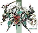 1girl :d absurdres arknights bare_shoulders breasts character_name chinese_commentary commentary_request extra_arms fangs green_hair green_theme highres holding holding_mask holding_sword holding_weapon horns hoshiguma_(arknights) jewelry large_breasts long_hair looking_at_viewer mask oni_horn open_mouth ring rope shinnasuka025 single_horn skin-covered_horns smile smoke sword weapon white_background yellow_eyes