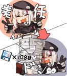 1girl :d amonitto beret blush book closed_eyes commander_(girls_frontline) commentary_request floppy_disk gameplay_mechanics girls_frontline gloves hat mdr_(girls_frontline) multicolored_hair open_mouth paper_stack pink_hair silver_hair smile streaked_hair sweat translation_request v