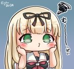 :i :t asimo953 black_ribbon black_serafuku blonde_hair chibi commentary_request green_eyes grey_background hair_ribbon hands_on_own_face highres kantai_collection kantai_collection_(anime) long_hair o3o poi_face ribbon school_uniform serafuku simple_background straight_hair translation_request yuudachi_(kantai_collection)