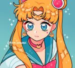 1girl aqua_background bangs bishoujo_senshi_sailor_moon blonde_hair blue_eyes blue_sailor_collar choker crescent crescent_choker crescent_earrings derivative_work diadem earrings emily_kim eyebrows_visible_through_hair instagram_username jewelry meme parted_bangs parted_lips red_choker sailor_collar sailor_moon sailor_moon_redraw_challenge sailor_senshi_uniform screencap_redraw solo sparkle tsukino_usagi twintails upper_body