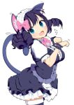 1girl animal_ear_fluff animal_ears aqua_eyes blush bow cat_ears cat_tail curly_hair cyan_(show_by_rock!!) dress fang frilled_bracelet frilled_shirt_collar frilled_skirt frilled_sleeves frills hair_ornament looking_at_viewer maid_headdress open_mouth paw_pose purple_dress purple_hair ringlets show_by_rock!! simple_background skirt smile solo tail thigh-highs tottotonero