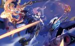 2girls anchor armor_girls bare_shoulders battle black_hair blue_sky blurry chain claw_(weapon) covered_navel detached_sleeves fingernails fire flying half-closed_eyes headgear highres holding holding_weapon horns huge_weapon leotard long_fingernails long_hair mecha_musume medium_hair multiple_girls open_mouth orange_eyes outdoors purple_hair shooing single_horn sky sparks steam talons thigh_strap tongue weapon wings zhu_fun