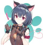 1girl absurdres animal_ears bangs bare_shoulders black_hair black_hairband black_shirt blush bow brown_bow brown_gloves brown_neckwear brown_vest cat_ears cat_teaser closed_mouth collared_shirt commentary_request eyebrows_visible_through_hair gloves hair_between_eyes hair_bow hairband heart highres holding idolmaster idolmaster_shiny_colors kemonomimi_mode looking_at_viewer low_twintails morino_rinze necktie ohihil polka_dot polka_dot_bow polka_dot_neckwear shirt short_twintails sleeveless sleeveless_shirt smile solo twintails upper_body vest violet_eyes white_background