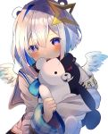 1girl amane_kanata angel_wings animal_ears armband bangs bear_ears blue_eyes blue_hair blush chikuwa_(tikuwaumai_) clenched_hand commentary danganronpa eyebrows_visible_through_hair eyes_visible_through_hair hair_ornament head_tilt highres holding holding_stuffed_animal hololive long_sleeves looking_at_viewer monokuma multicolored_hair open_mouth pink_hair school_uniform serafuku silver_hair simple_background smile smirk solo star_(symbol) star_hair_ornament stuffed_animal stuffed_toy symbol_commentary translation_request two-tone_hair virtual_youtuber white_background wings