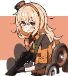 1girl amonitto blonde_hair blue_eyes blush commentary_request fabarm_sat-8 girls_frontline gloves gun hairband italian_flag_neckwear long_hair looking_at_viewer messy_hair orange_hairband s.a.t.8_(girls_frontline) shotgun smile solo very_long_hair weapon