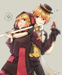 1boy 1girl anger_vein arm_around_neck black_dress black_headwear black_jacket black_pants commentary cowboy_shot dress eighth_note formal grey_background haine_koko holding holding_another's_arm holding_cane holding_scissors hooded_dress jacket kagamine_len kagamine_rin looking_at_another musical_note open_mouth pants patchwork_clothes project_diva_(series) restrained scissors scissors_(module) smile spoken_anger_vein standing suit sweatdrop trembling tricker_(module) v-shaped_eyebrows vest vocaloid yellow_vest