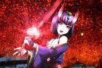 bare_shoulders bob_cut breasts fate/grand_order fate_(series) genya_(genya67) glowing highres holding holding_sword holding_weapon horns japanese_clothes kimono looking_at_viewer oni oni_horns open_clothes open_kimono open_mouth purple_hair purple_kimono qisha_tianling revealing_clothes seiyuu_connection short_hair shuten_douji_(fate/grand_order) skin-covered_horns small_breasts smile sword thunderbolt_fantasy violet_eyes weapon yuuki_aoi