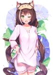1girl animal_ear_fluff animal_ears bangs blue_flower blush breasts brown_hair cat_ears cat_girl cat_tail collarbone commentary_request ears_visible_through_hair fang floral_print flower frills green_eyes highres jiyasu karyl_(princess_connect!) long_hair long_sleeves looking_at_viewer low_twintails medium_breasts multicolored_hair one_eye_closed open_mouth pink_shirt pink_shorts princess_connect! princess_connect!_re:dive shirt shorts solo streaked_hair tail twintails very_long_hair water_drop white_background white_hair