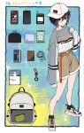 1girl absurdres bag belt black_hair blush book cellphone earphones fujiya_takao green_eyes hand_up handkerchief hat highres kusunoki_suzu original phone shoes shorts smartphone socks solo star_(symbol) walkman wallet