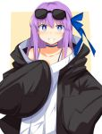 1girl bangs black_hoodie blue_choker blue_eyes blue_ribbon blush breasts chata_maru_(irori_sabou) choker collarbone commentary_request eyebrows_visible_through_hair fate/grand_order fate_(series) grin hair_ribbon highres long_hair long_sleeves looking_at_viewer meltryllis purple_hair ribbon simple_background sleeves_past_fingers sleeves_past_wrists smile solo very_long_hair white_background white_hoodie yellow_background