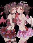 1girl absurdres angel_wings bangs bare_shoulders black_choker black_hair black_legwear blush bow brown_gloves character_request choker commentary_request dark_background demon_horns demon_tail demon_wings floral_print frills frown gloves hair_bow hair_ornament halo hari. heart highres horns huge_filesize io_(sinking=carousel) long_hair looking_at_viewer love_live! love_live!_school_idol_project multiple_views open_mouth pink_bow pink_eyes pink_legwear pink_skirt red_bow red_eyes red_gloves red_skirt simple_background skirt smile tail thigh-highs twintails wings yazawa_nico