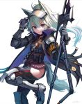 1girl animal_ears arknights armband artist_name black_choker black_jacket black_pants chaps choker commentary gloves grani_(arknights) green_hair hand_up highres holding holding_weapon horse_ears horse_tail jacket long_hair long_sleeves looking_at_viewer pants ponytail red_shirt shirt shoes shoulder_armor simple_background smile solo standing standing_on_one_leg tail ukimesato violet_eyes weapon white_background