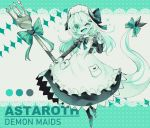 apron astaroth_(noyuki13) back_bow bangs black_bow bow character_name demon_girl demon_horns dragon_horns dragon_tail fang fork gem green_bow green_eyes green_theme green_tongue hair_ornament hairclip highres holding holding_fork horns juliet_sleeves long_hair long_sleeves maid maid_headdress noyuki13 one_eye_closed original oversized_object pocket puffy_sleeves sleeve_cuffs striped striped_bow tail tail_bow thumbs_up white_apron white_hair white_skin