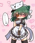 1girl @_@ alternate_costume anger_vein animal_ear_fluff animal_ears animal_hat apron asimo953 back_bow bangs black_legwear blush bow breasts brown_gloves cat_ears cat_hat commentary_request cowboy_shot dress embarrassed enmaided eyebrows_visible_through_hair eyepatch frilled_apron frilled_dress frills gloves green_eyes green_hair hair_between_eyes hat heart heart_background highres kantai_collection kemonomimi_mode kiso_(kantai_collection) maid maid_apron maid_dress maid_headdress medium_breasts medium_hair nose_blush pink_background puffy_short_sleeves puffy_sleeves remodel_(kantai_collection) short_sleeves sidelocks solo speech_bubble standing sweatdrop thigh-highs white_apron white_bow zettai_ryouiki