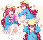 1girl bag balloon bloomers closed_eyes collar eyebrows_visible_through_hair flower gocoli gradient gradient_background hair_ornament hairclip hands_on_headwear hat highres idolmaster idolmaster_shiny_colors kindergarten_bag kindergarten_uniform knees_together_feet_apart long_hair looking_at_viewer lying name_tag on_side oosaki_tenka open_mouth pillow pillow_hug redhead school_hat sidelocks simple_background sitting socks tareme underwear white_bloomers white_legwear yellow_eyes yellow_headwear younger