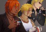 3boys ashwatthama_(fate/grand_order) bangs beard beowulf_(fate/grand_order) biker_clothes bikesuit blonde_hair chest dark_skin dark_skinned_male face_jewel facial_hair fate/grand_order fate_(series) fingerless_gloves gloves holding iduhara_jugo jacket jewelry leather leather_jacket long_sleeves looking_to_the_side male_focus multiple_boys muscle necklace open_mouth pectorals red_eyes redhead sakata_kintoki_(fate/grand_order) sakata_kintoki_rider_(fate/grand_order) scar shirtless sunglasses tank_top tattoo upper_body yellow_eyes