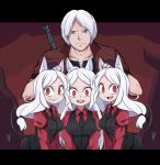 1boy 3girls animal_ears bangs black_suit black_tail black_vest caibao cerberus_(helltaker) closed_mouth coat collarbone commentary crossover dante_(devil_may_cry) demon_girl demon_tail devil_may_cry dog_ears dog_girl english_commentary eyebrows_visible_through_hair facial_hair fang fingerless_gloves formal gloves green_eyes grin hand_on_another's_head height_difference helltaker highres leaning_forward letterboxed long_hair long_sleeves looking_at_viewer matching_outfit multiple_girls neckwear open_mouth parted_bangs red_shirt shirt short_hair smile suit sword tail triplets upper_body upper_teeth v_arms vest weapon weapon_on_back white_hair