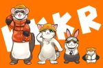 animal cat duel_monster ferret goggles goggles_on_headwear hamster helmet jacket no_humans one_eye_closed orange_background orange_jacket rabbit rescue_cat rescue_ferret rescue_hamster rescue_rabbit rope salute whistle whistle_around_neck yuu-gi-ou