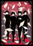 4boys aoyama_(szs) arm_at_side arm_behind_back bangs black_border black_footwear black_hair black_theme blurry blurry_background book border buttons closed_mouth commentary_request emphasis_lines expressionless fingernails flying_paper full_body gakuran glasses gradient gradient_background grey_background grin haga_(szs) half-closed_eyes hand_in_pocket hand_on_hip hand_on_own_arm hand_on_own_chest hands_in_pockets high_collar highres holding holding_book japanese_clothes kino_kuniya kudou_jun looking_afar looking_at_viewer male_focus multiple_boys okumura open_mouth paper parted_bangs red-framed_eyewear red_background red_eyes red_theme sayonara_zetsubou_sensei school_uniform see-through semi-rimless_eyewear side-by-side smile spiky_hair teeth too_many too_many_papers translation_request uniform upper_teeth v-shaped_eyebrows walking