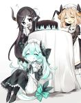 3girls :d :q ^_^ apron astaroth_(noyuki13) bangs black_bow black_dress black_eyes black_hair blonde_hair blush bow bun_cover cake chocolate_mint closed_eyes commentary demon_horns dragon_tail dress eating food frilled_dress frills green_bow hair_bow hat highres horns juliet_sleeves knife long_hair long_sleeves looking_at_another maid medium_hair mob_cap multiple_girls noyuki13 open_mouth original pointy_ears puffy_sleeves sitting smile table tablecloth tail tail_bow tongue tongue_out very_long_hair white_apron white_hair white_skin