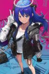 1girl absurdres arknights bangs bare_legs black_gloves black_jacket blue_eyes blue_hair blush commentary eyebrows_visible_through_hair feet_out_of_frame gloves grin hair_between_eyes halo hand_up highres horns jacket jewelry ko-ma long_hair long_sleeves looking_at_viewer mismatched_gloves mostima_(arknights) necklace parted_lips pouch roman_numerals shirt smile solo standing v white_gloves white_shirt