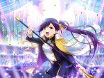 cape dress long_hair lui_meifan ponytail purple_hair red_eyes shoujo_kageki_revue_starlight smile sword