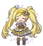 1girl bass_clef beamed_eighth_notes blonde_hair blush boots chibi closed_eyes eighth_note emily_stewart full_body hands_up idolmaster idolmaster_million_live! long_hair musical_note open_mouth skirt smile solo striped striped_skirt treble_clef twintails wristband yukimiya_chino
