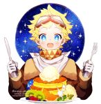 1boy alternate_costume artist_name bangs blonde_hair blue_eyes blush bright_pupils cake fate/grand_order fate/requiem fate_(series) food fork fruit gloves glowing goggles goggles_on_head kiwifruit knife looking_at_viewer male_focus meiji_ken napkin open_mouth orange parted_bangs raspberry scarf sky smile solo sparkling_eyes star_(sky) star_(symbol) starry_background starry_sky upper_body voyager_(fate/requiem) yellow_scarf