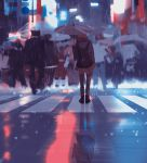 backpack bag black_backpack blurry brown_hair city commentary crosswalk crowd grey_umbrella highres light original rain snatti standing thigh-highs umbrella urban water