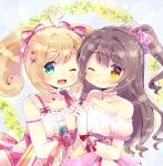 2girls ;) ;d ahoge bare_shoulders blue_flower blue_rose blush bow brown_eyes brown_hair collarbone commentary_request commission copyright_request detached_sleeves flower gloves green_eyes grey_background hair_bow hand_up heart heart_ahoge interlocked_fingers kouu_hiyoyo light_brown_hair multiple_girls off-shoulder_shirt off_shoulder one_eye_closed open_mouth pink_bow pink_flower pink_rose ponytail puffy_short_sleeves puffy_sleeves purple_bow red_bow rose shirt short_sleeves smile striped striped_bow twintails white_gloves white_shirt white_sleeves