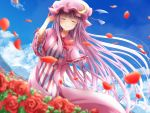 1girl arm_up blue_bow blue_ribbon blue_sky bow bowtie closed_eyes clouds commentary_request crescent crescent_moon_pin dress eyebrows_visible_through_hair flower garden hair_bow hat hat_ribbon long_hair mob_cap mountainous_horizon patchouli_knowledge petals pink_dress purple_hair ram_hachimin red_bow red_neckwear red_ribbon ribbon rose rose_petals sky smile solo striped striped_dress touhou very_long_hair wide_sleeves