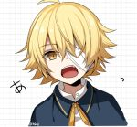1boy bandage_over_one_eye blonde_hair blue_capelet capelet commentary fangs grid_background looking_at_viewer male_focus minahoshi_taichi neck_ribbon oliver_(vocaloid) open_mouth ribbon shirt solo translated twitter_username upper_body vocaloid white_shirt yellow_eyes yellow_neckwear