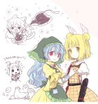 2girls ? apron aqua_apron arm_ribbon armor biyon blonde_hair blue_hair blush breast_grab chibi chisel collared_shirt double_bun dress flying_sweatdrops grabbing green_apron green_hood hair_ribbon haniwa_(statue) haniyasushin_keiki head_scarf joutouguu_mayumi long_hair looking_at_viewer magatama magatama_necklace multiple_girls puffy_short_sleeves puffy_sleeves red_eyes ribbon shirt short_sleeves single_strap smock sweatdrop tools touhou vambraces white_ribbon white_shirt wood_carving_tool yellow_dress yellow_eyes
