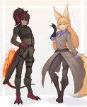 2girls absurdres animal_ear_fluff animal_ears armor bangs belt belt_pouch black_bodysuit black_gloves blonde_hair bodysuit bodysuit_under_clothes boots brown_coat brown_eyes brown_hair chainsword claws closed_eyes coat commentary commission cross-laced_footwear crossover dark_skin english_commentary facial_scar facing_viewer fiery_tail fox_ears fox_girl fox_shadow_puppet fox_tail frown full_body gloves hair_between_eyes hand_on_hilt head_fins highres holster kitsune knee_boots lizard_tail long_coat long_hair long_sleeves looking_at_viewer medium_hair monster_girl monster_girl_encyclopedia multiple_girls open_mouth ovosh147 pants paws ponytail pouch purple_bodysuit salamander_(monster_girl_encyclopedia) scar simple_background single_glove tail thigh_holster warhammer_40k weapon