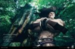 1boy abs armor bara berserker black_border black_hair border bracelet copyright_name crossed_arms dark_skin dark_skinned_male english_text fate/grand_order fate/stay_night fate_(series) from_below heterochromia jewelry long_hair male_focus manly muscle official_art red_eyes solo toned toned_male tree tree_shade tree_stump upper_body yellow_eyes
